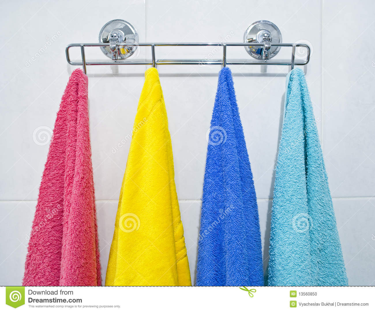 Colorful Towels Hanging In A Bathroom Stock Photo Image