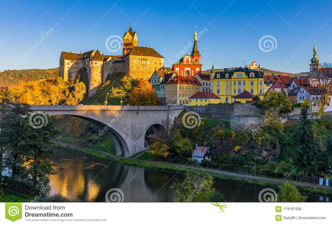 Colorful town and Castle Loket over Eger river in the near of Karlovy Vary, Czech Republic