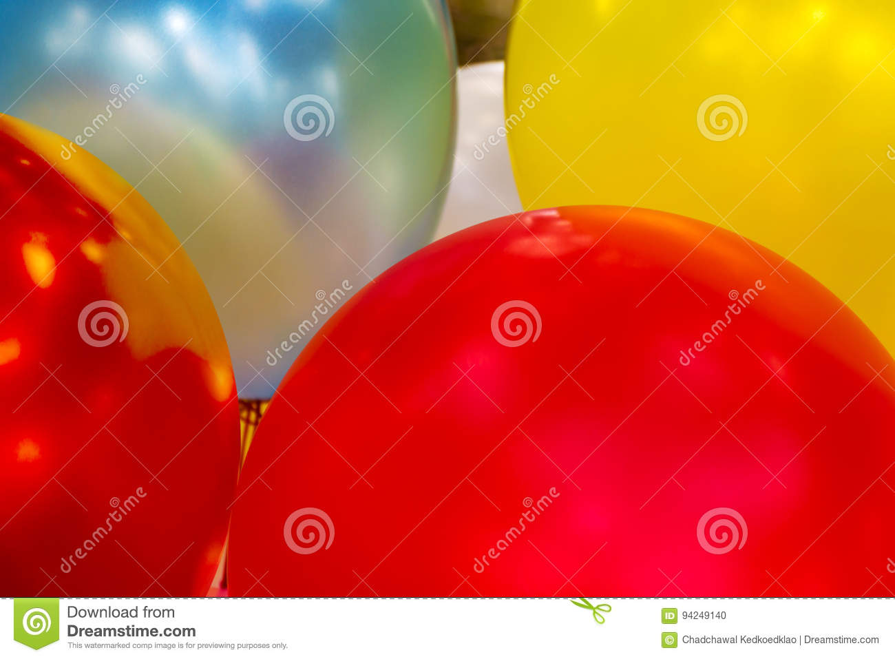 Colorful toy balloons closeup
