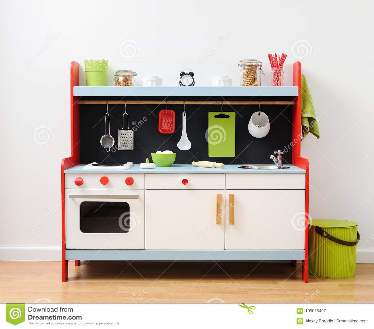 Colorful Toy Kitchen With Kitchen Utensils Ready For