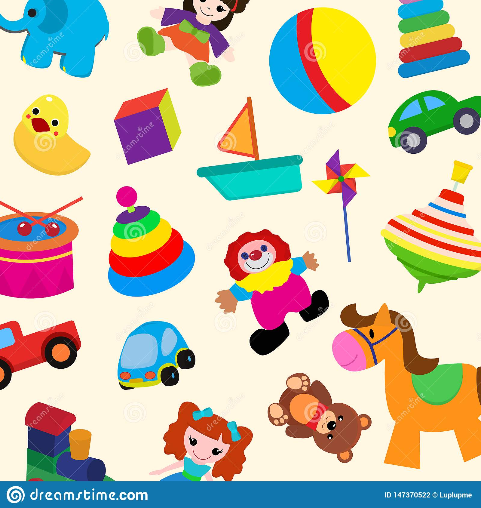 Colorful toys in cartoon style for kids seamless pattern vector illustration. Childish design with doll, duck, elephant