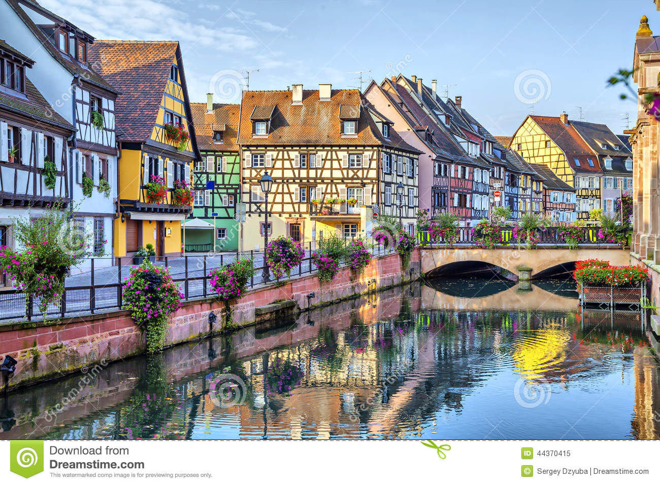 colorful traditional french houses in colmar stock image. Black Bedroom Furniture Sets. Home Design Ideas