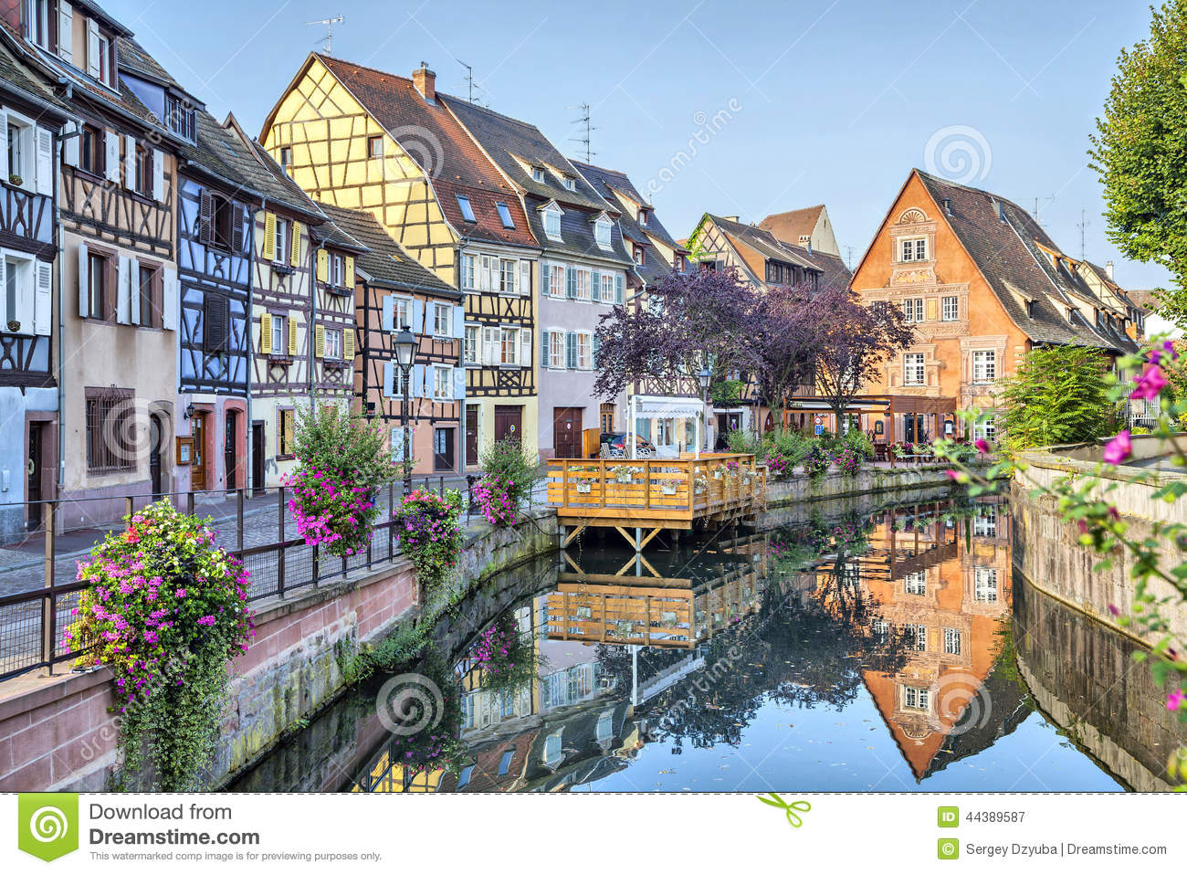 colorful traditional french houses in petite venise stock photo image 44389587. Black Bedroom Furniture Sets. Home Design Ideas
