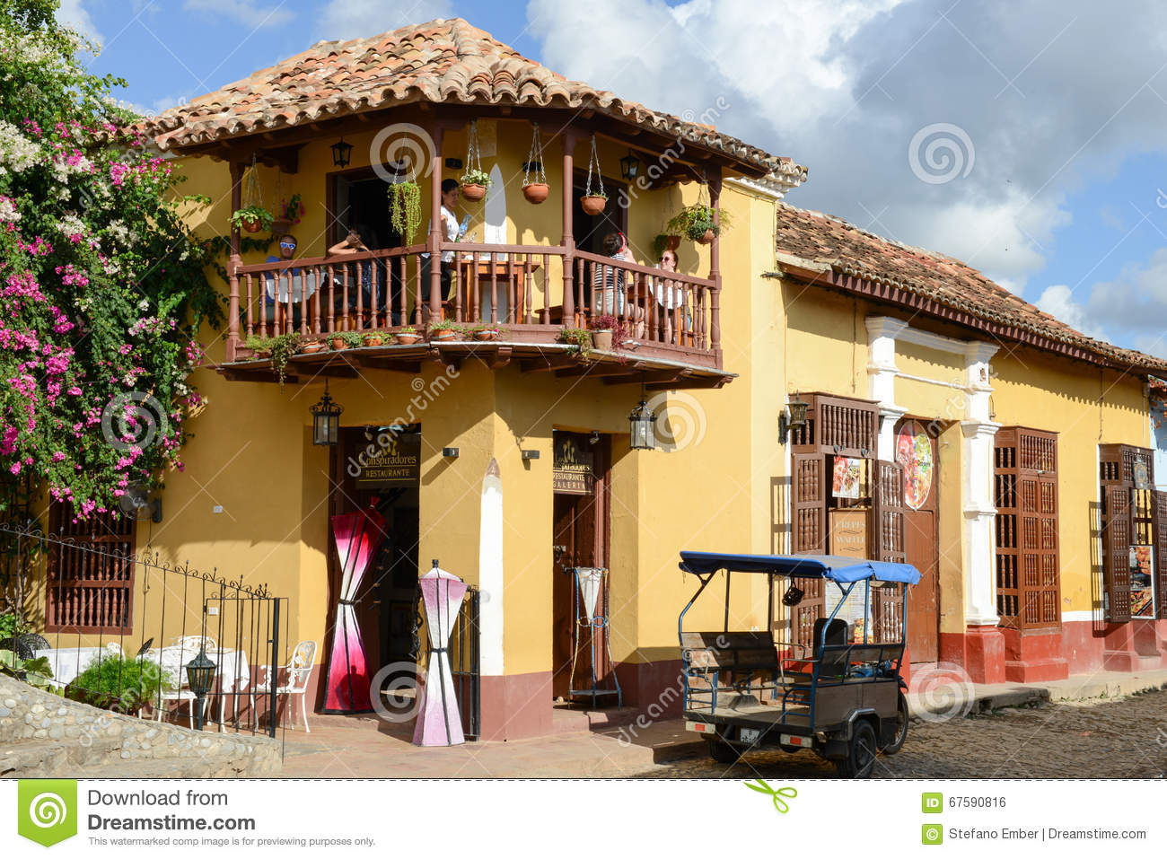 Colorful traditional houses in the colonial town of for The balcony restaurant