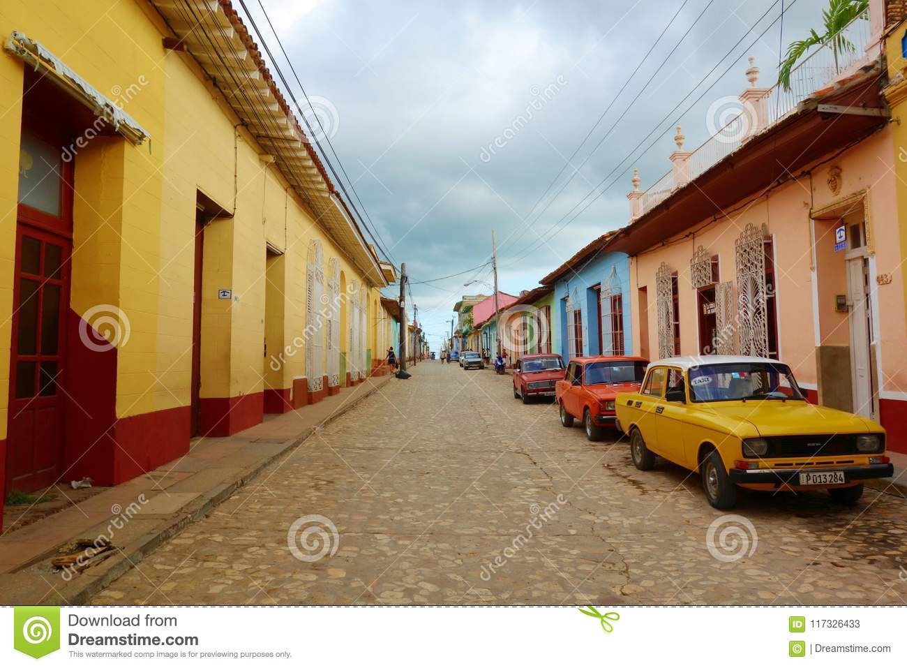 Colorful traditional houses in the colonial town of Trinidad in Cuba, a UNESCO World Heritage site