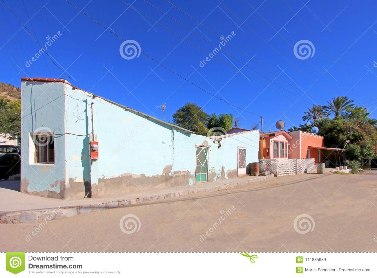 Colorful traditional houses in the streets of the Mission San Ignacio, Baja California, Mexico