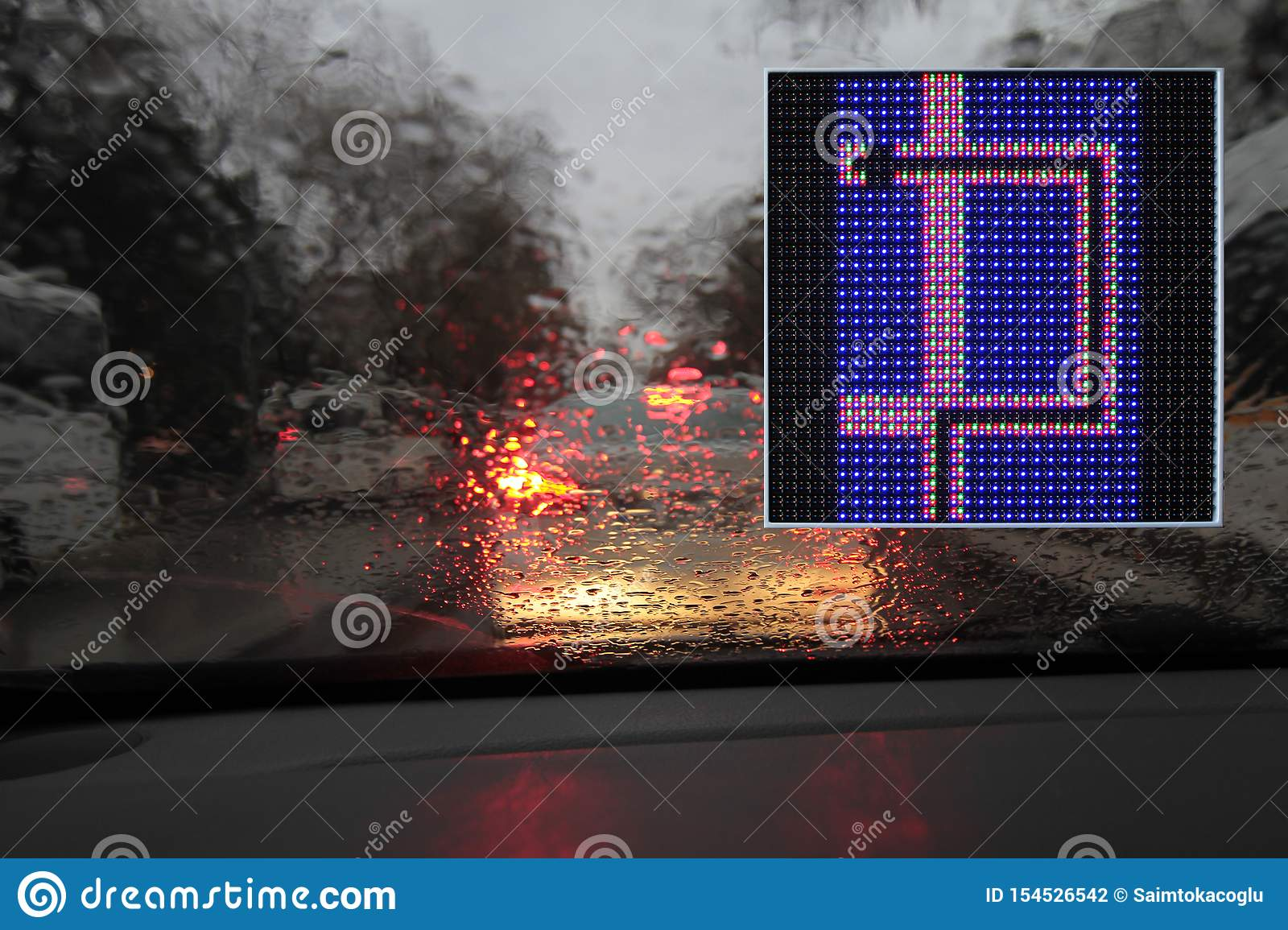 Colorful traffic warning and guidance signs made with LED lights