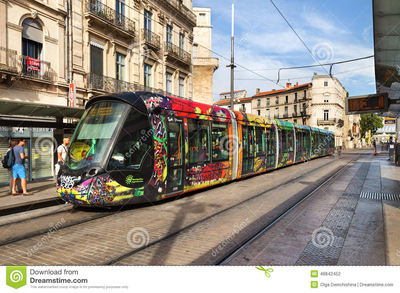 Colorful tram in monpellier france editorial photography - Tram horaire montpellier ...