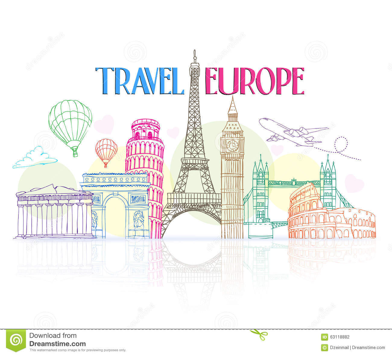 Colorful Travel Europe Hand Drawing with Famous Landmarks