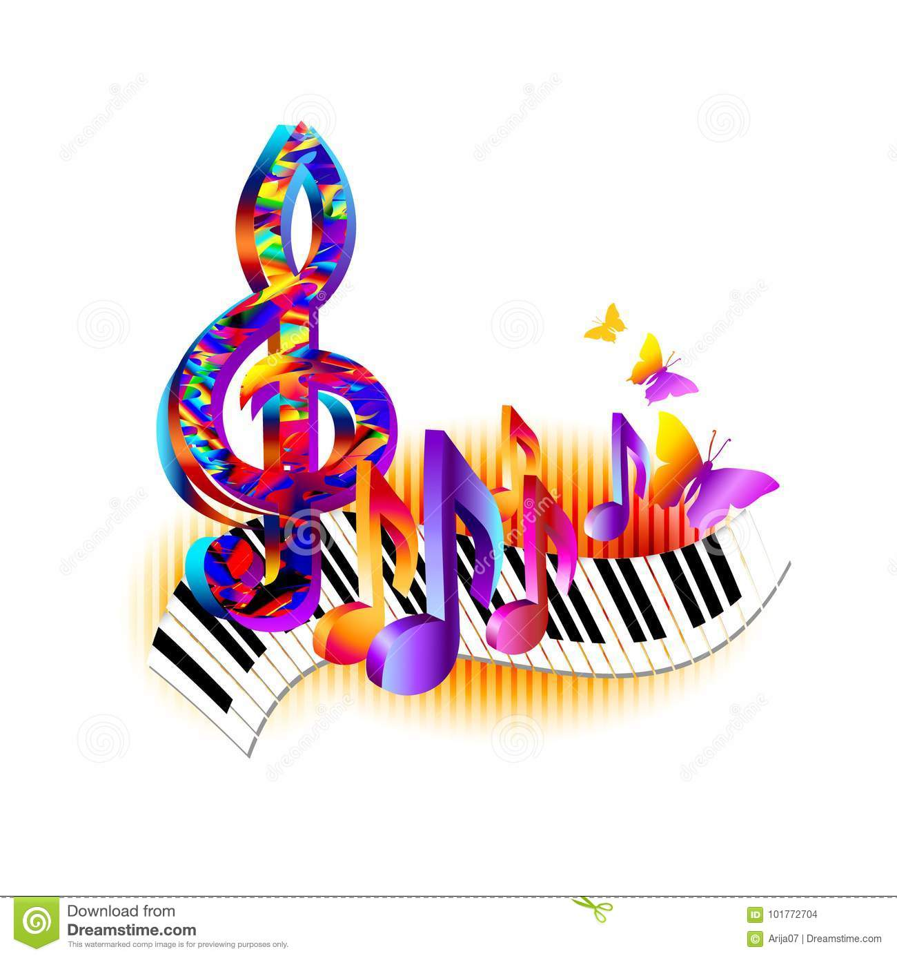 Colorful Treble Clef 3d Music Notes With Piano Keyboard And