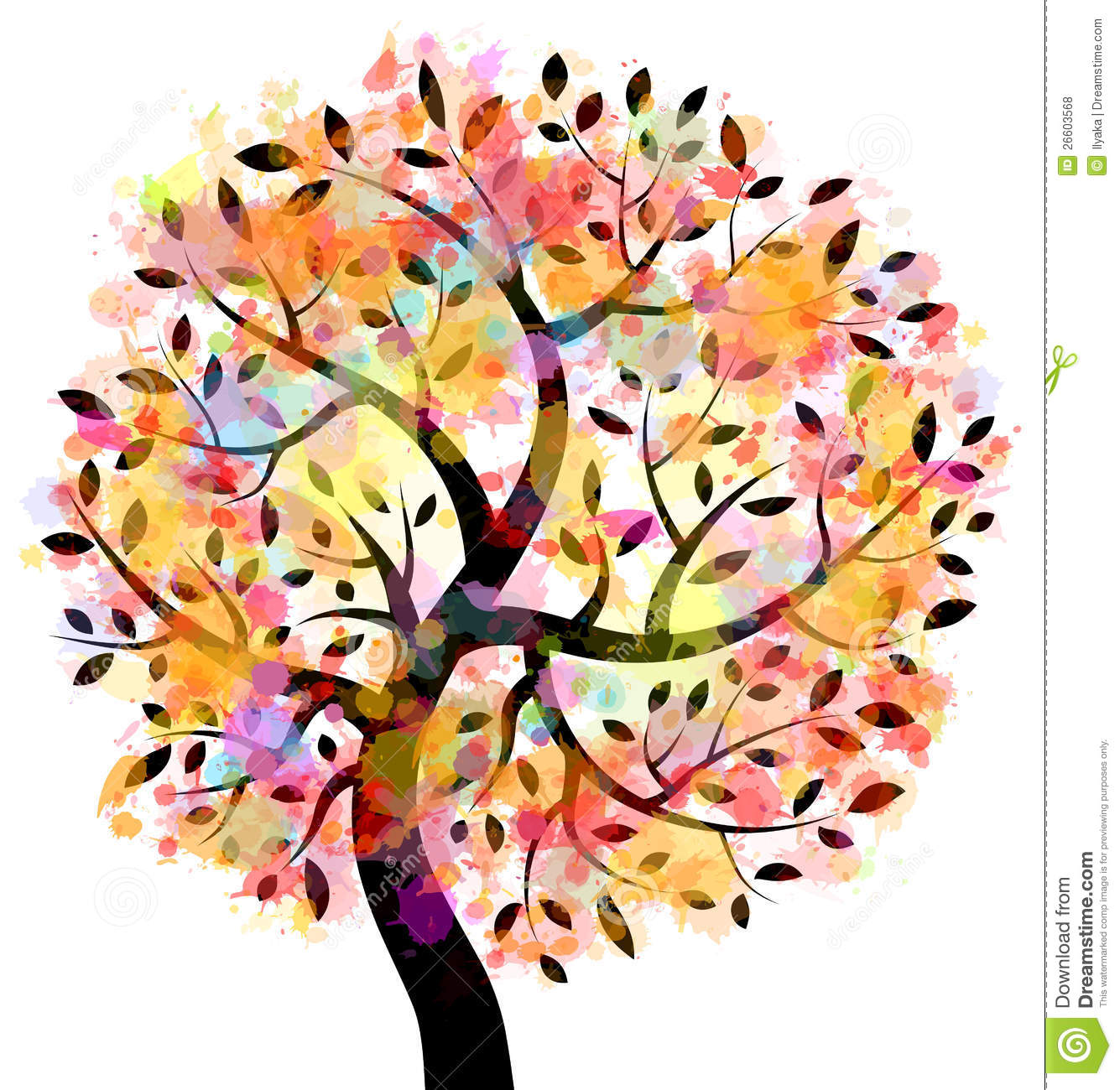 Colorful Tree stock vector. Illustration of damaged ...