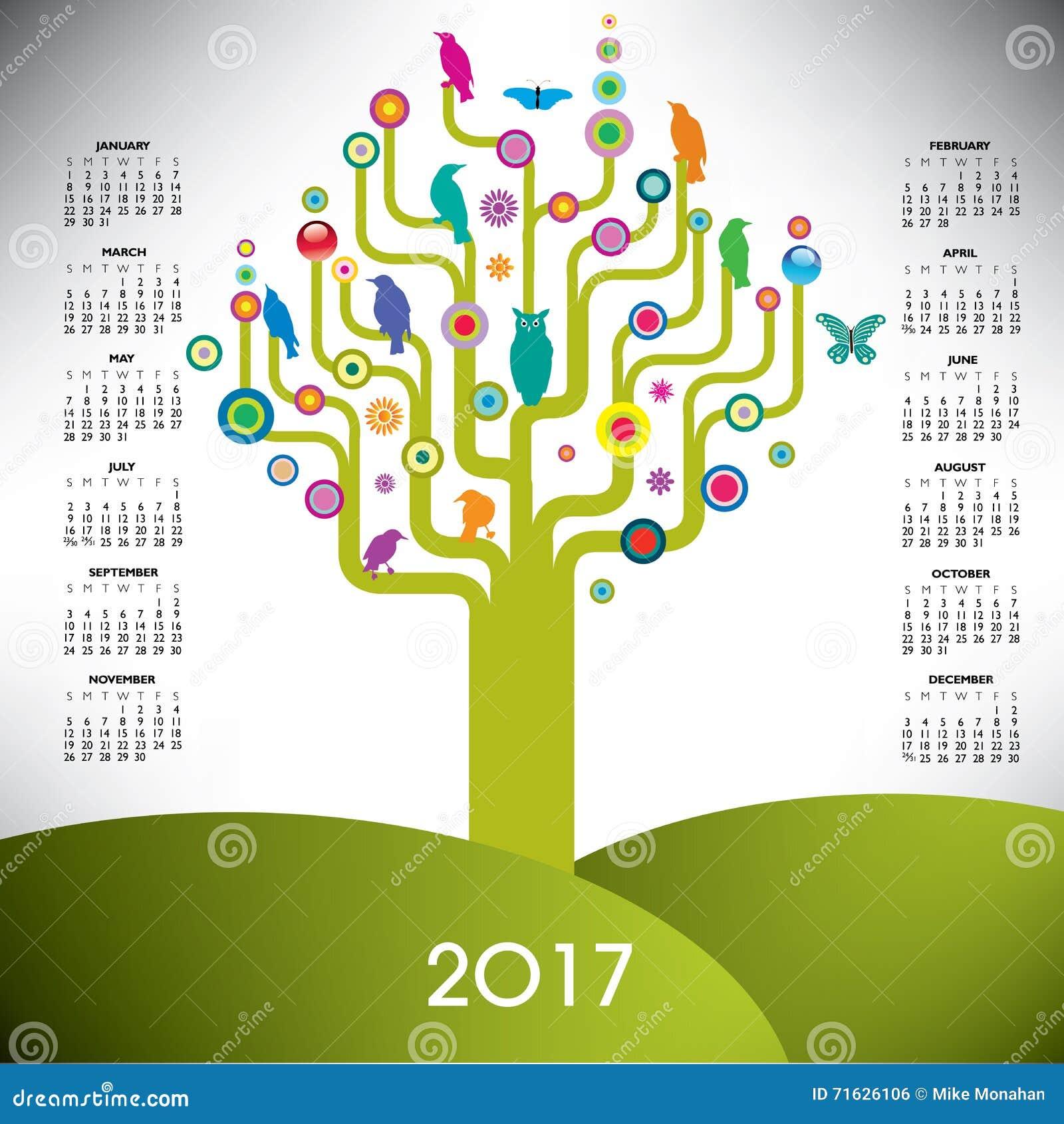 2017 Colorful Tree Calendar Stock Vector - Illustration of american ...