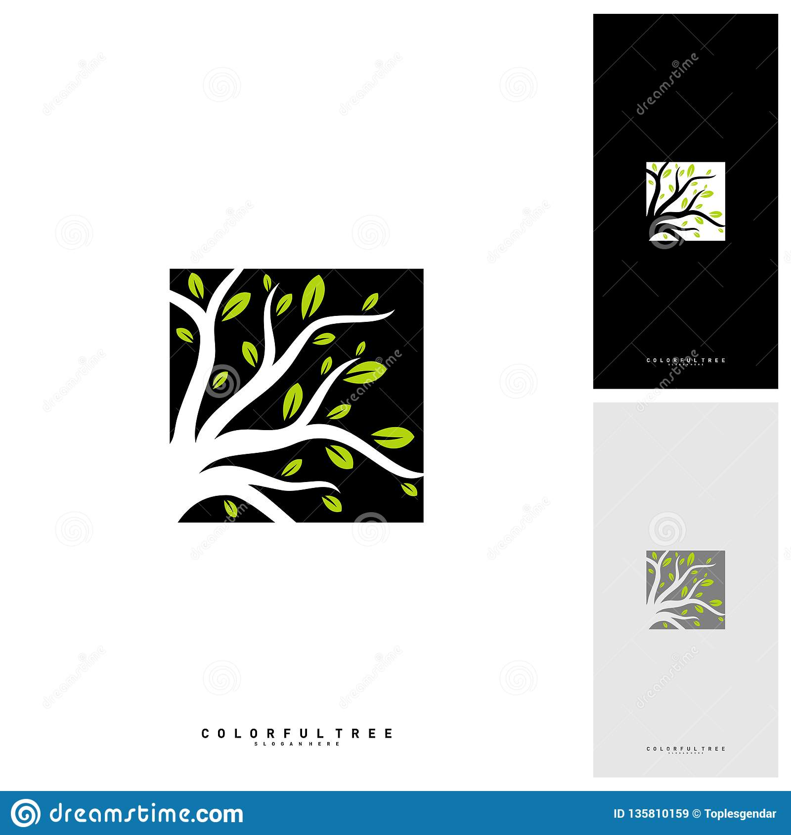 Colorful Tree Logo Design Template. Luxury Tree logo Concepts. Nature Logo Concepts Vector