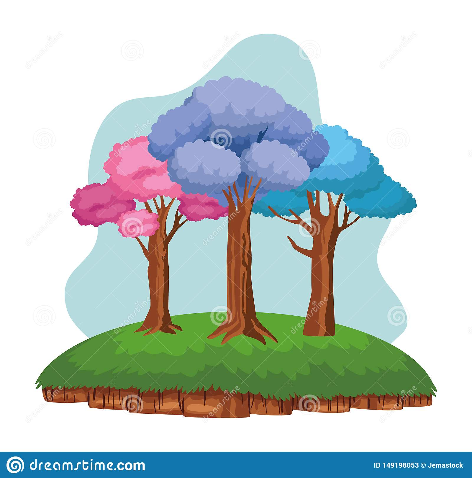 Colorful trees over a piece of ground
