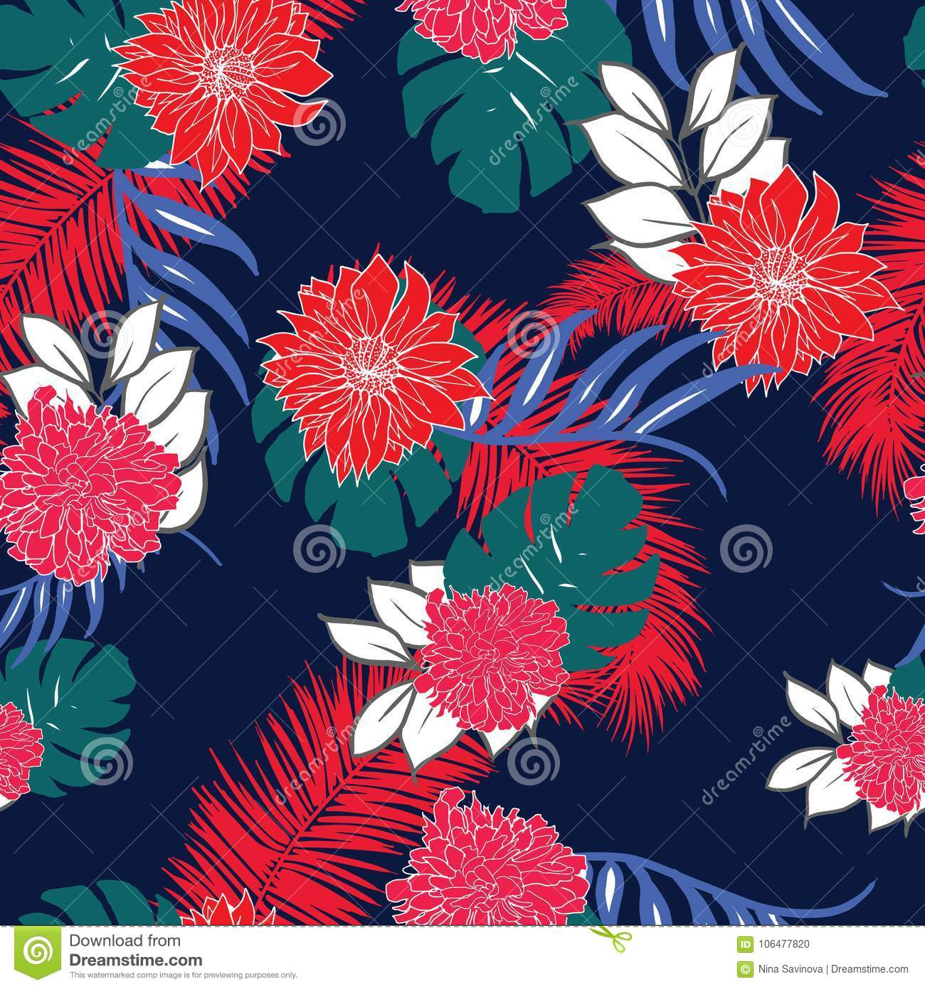 Colorful And Trendy Tropical Hawaiian Flowers Repeated Pattern Stock