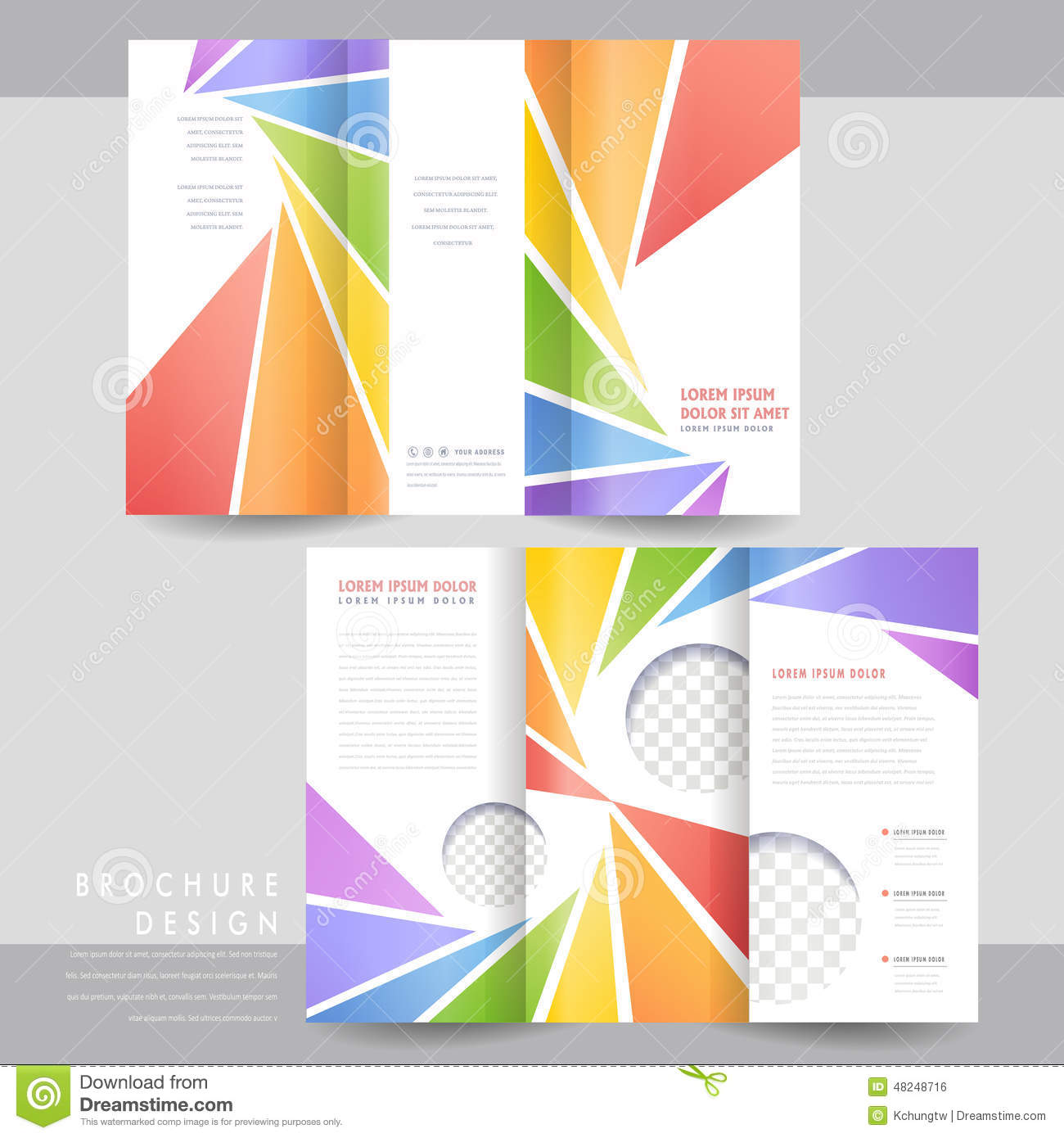 Colorful tri fold brochure template design stock vector for Tri fold brochure design templates