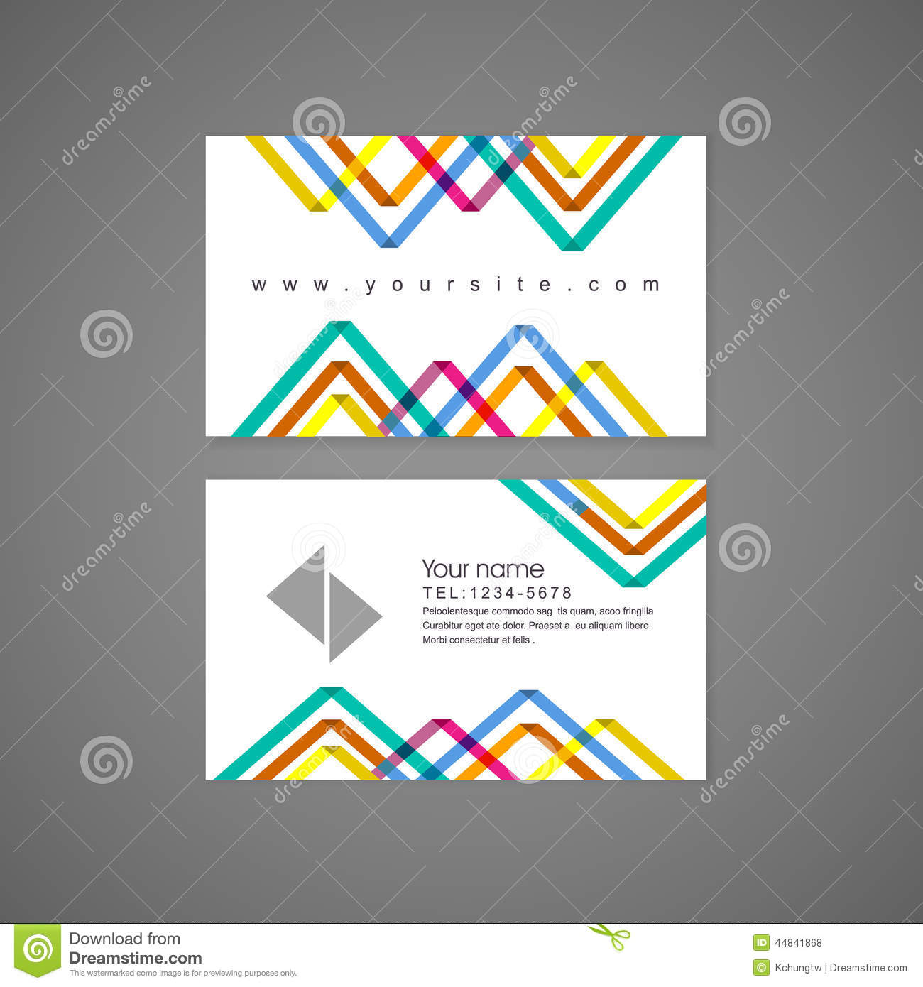 Colorful Triangle Pattern Background Business Card Template Stock ...