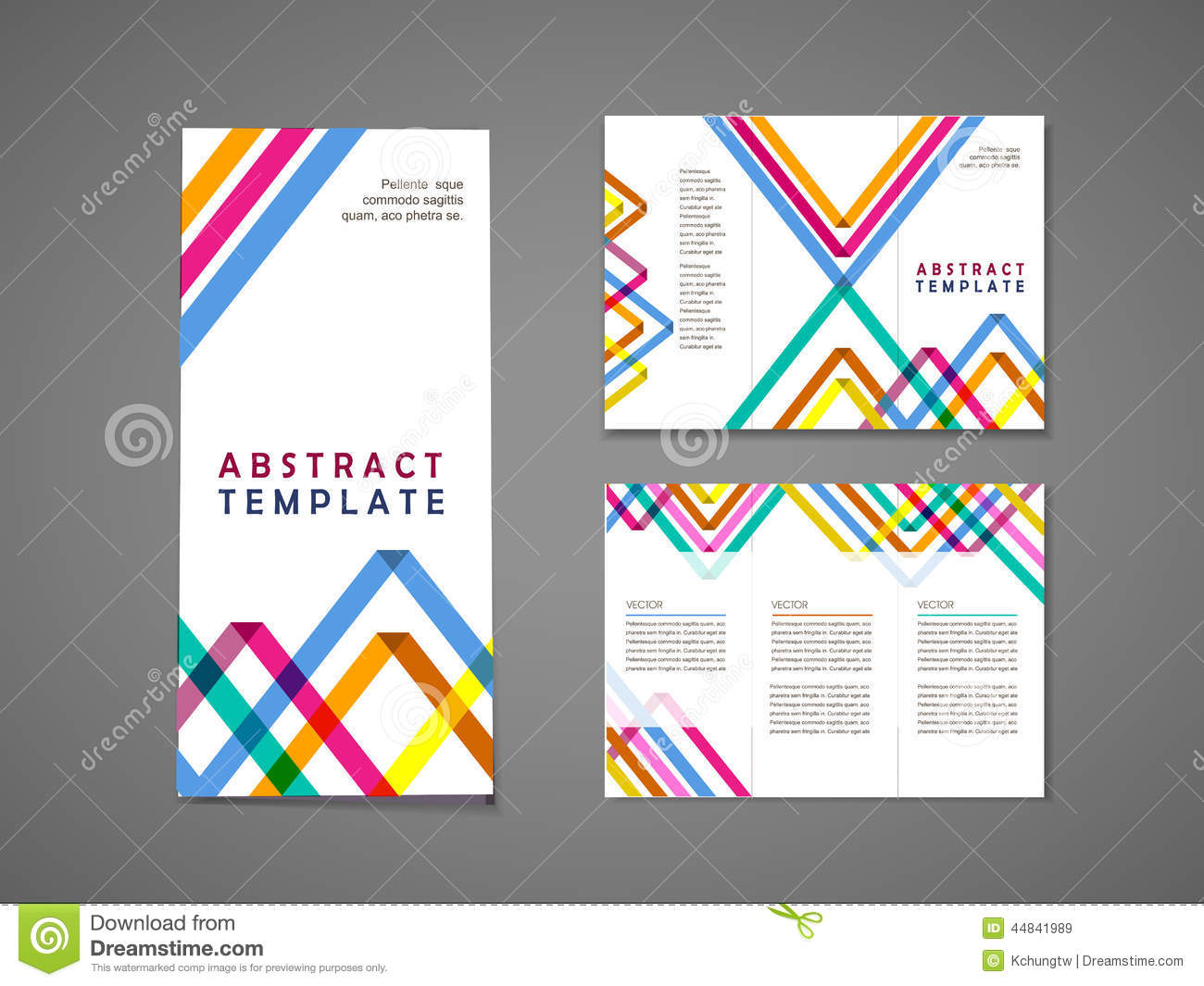 colorful triangle pattern background tri fold brochure stock vector