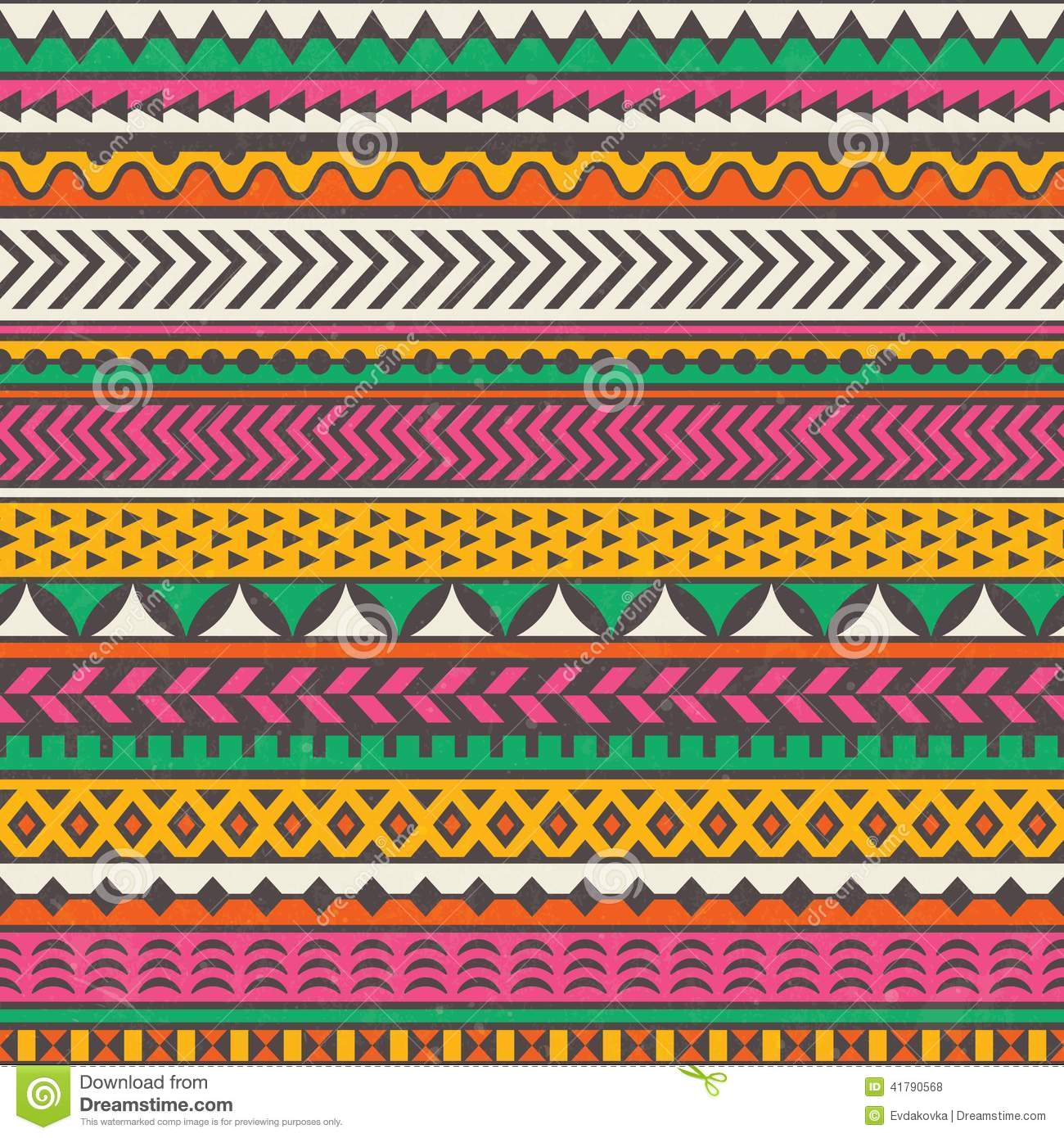 Colorful Tribal Print. Vector Seamless Background. Stock Vector ...