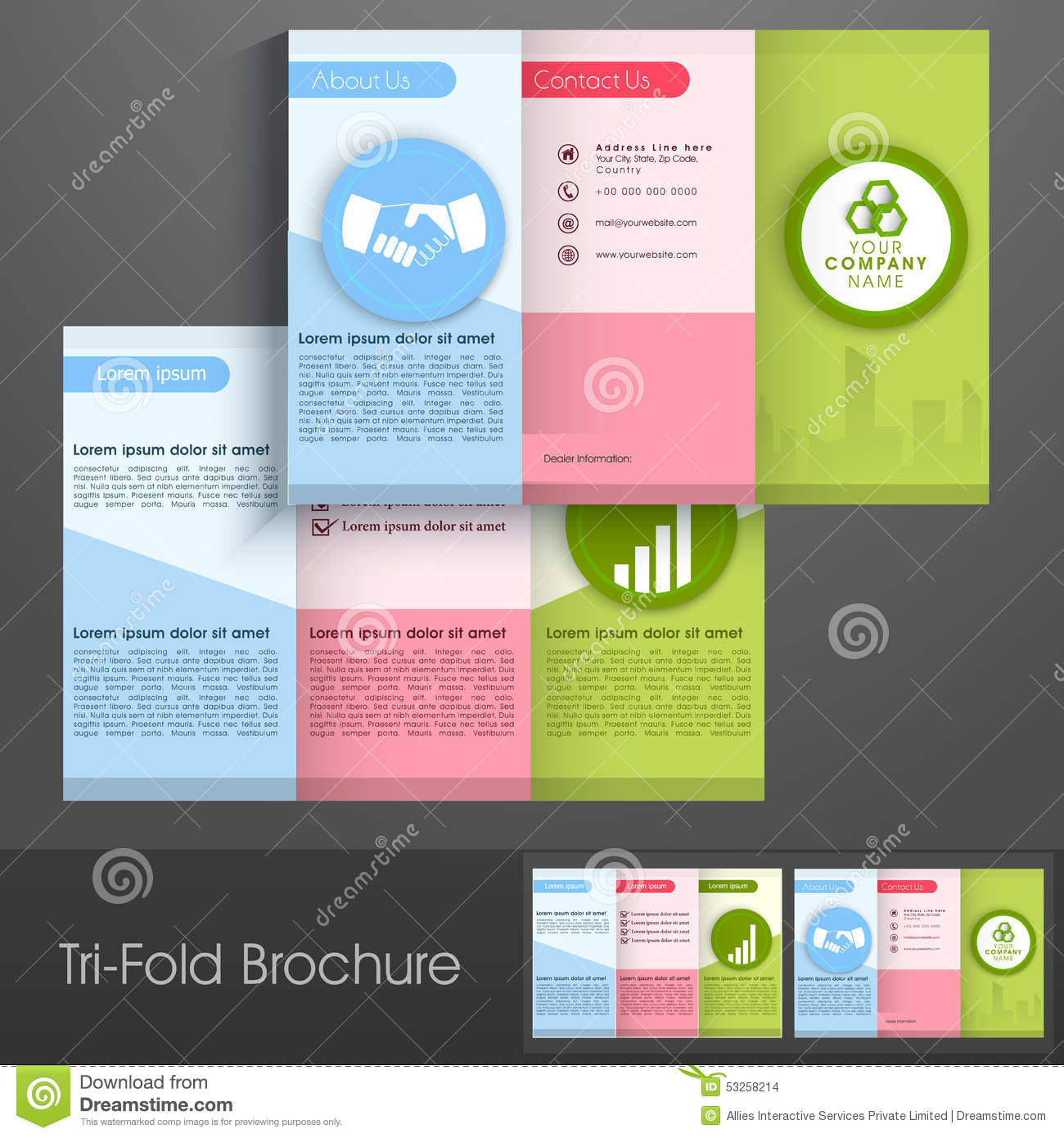 colorful trifold brochure flyer or template for business stock illustration image 53258214. Black Bedroom Furniture Sets. Home Design Ideas