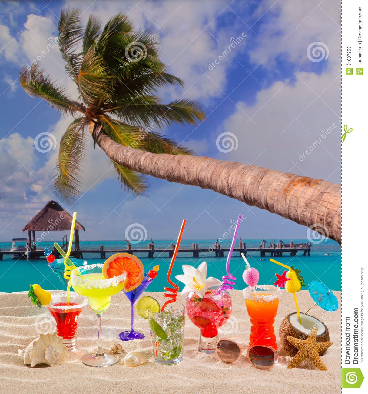 Colorful Tropical Cocktails At Beach On White Sand Royalty ... - photo#44