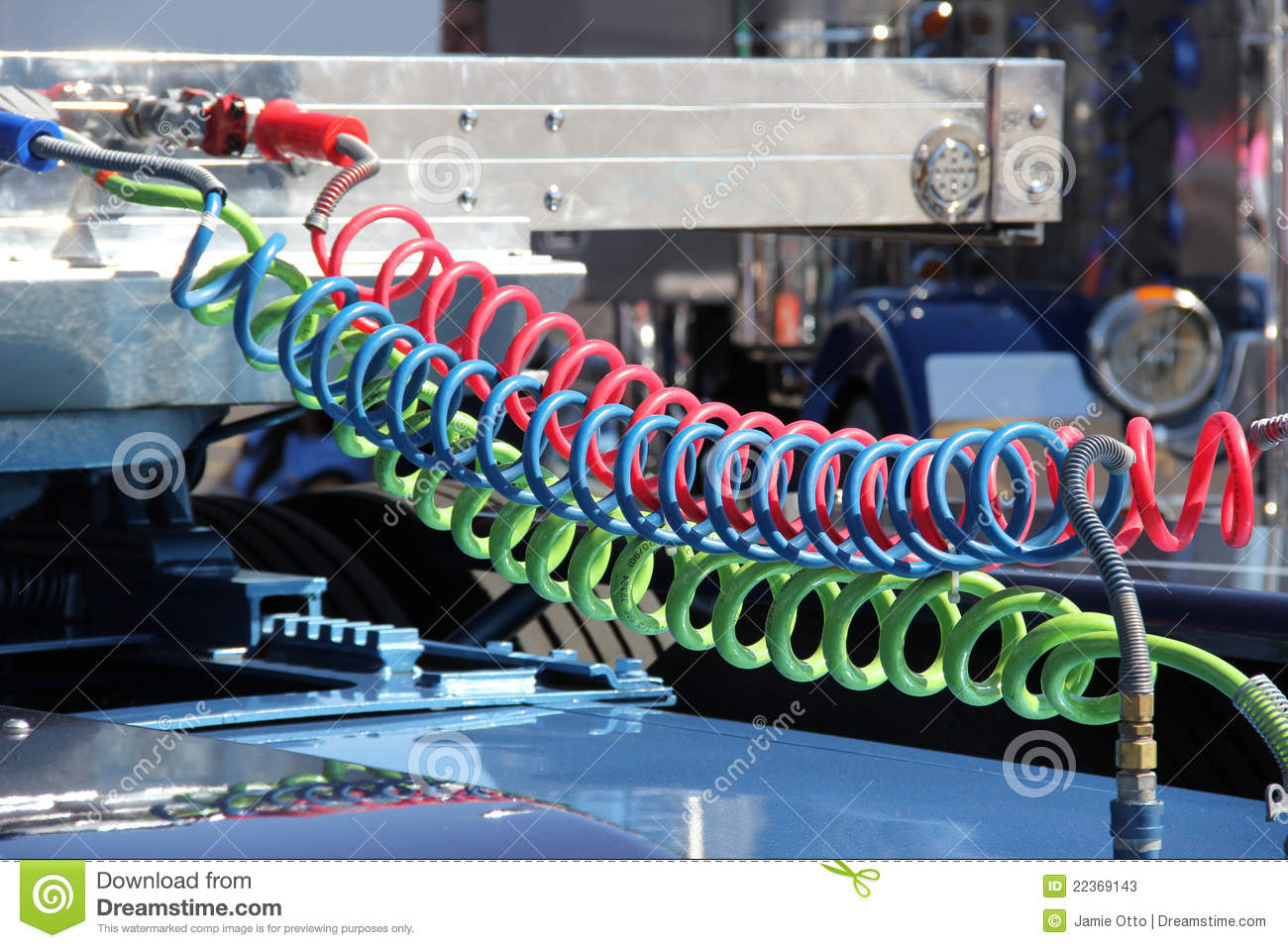 Semi Tractor Air Lines : Colorful truck air lines stock photos image