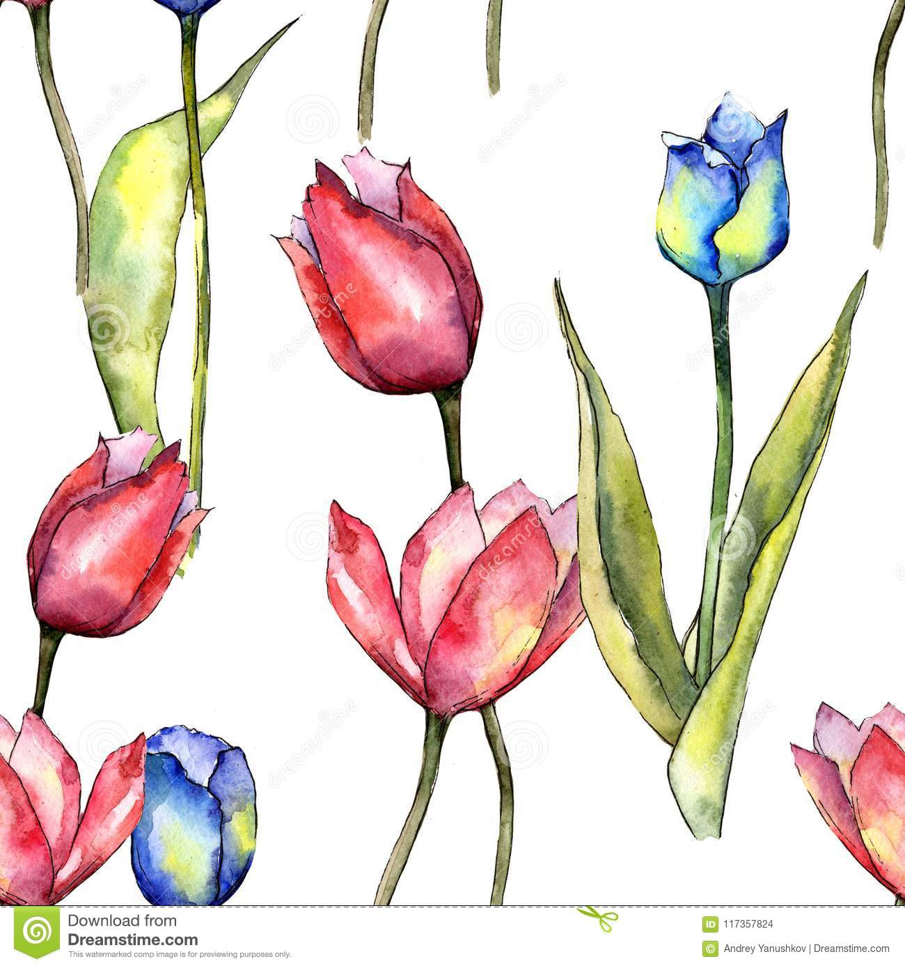Colorful Tulip Floral Botanical Flower Seamless Background