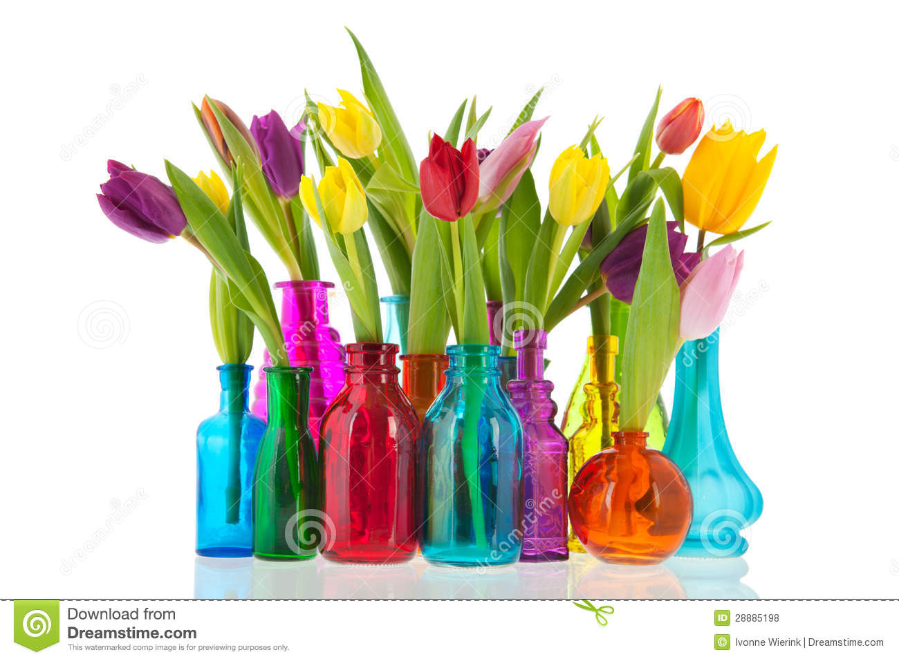 Colorful tulips in glass vases stock photo image of colorful royalty free stock photo reviewsmspy