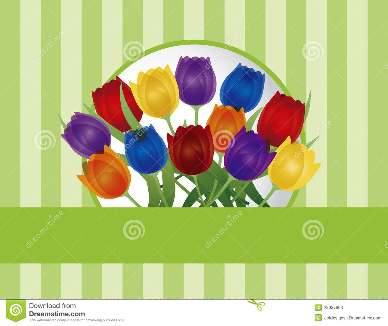 Colorful Tulips Greeting Card Illustration Stock Vector