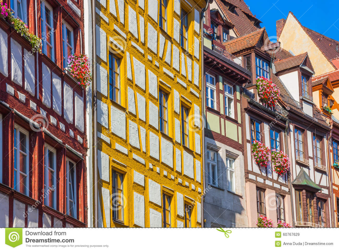 Colorful Typical German Houses Nuremberg Germany Stock