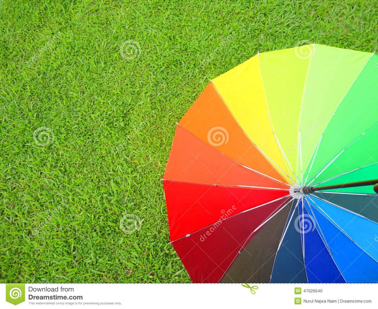 Colorful umbrella on grass stock photo. Image of colorful - 47026640