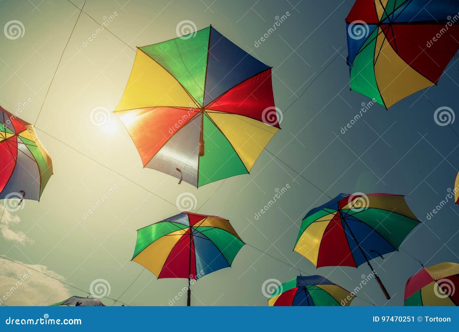 Colorful Umbrella Street Decoration With Sunlight. Vintage Tone ...