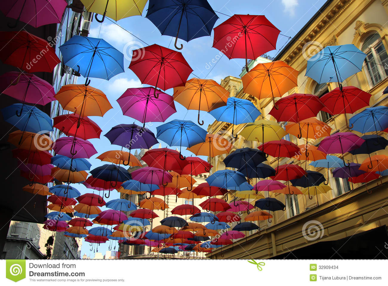 Colorful umbrellas in belgrade stock images image 32909434 for Decor umbrellas