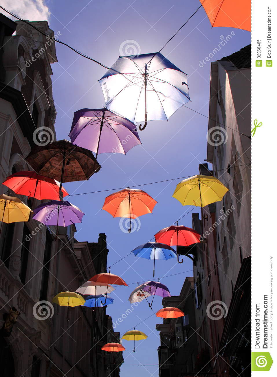 Colourful umbrellas with blue sky