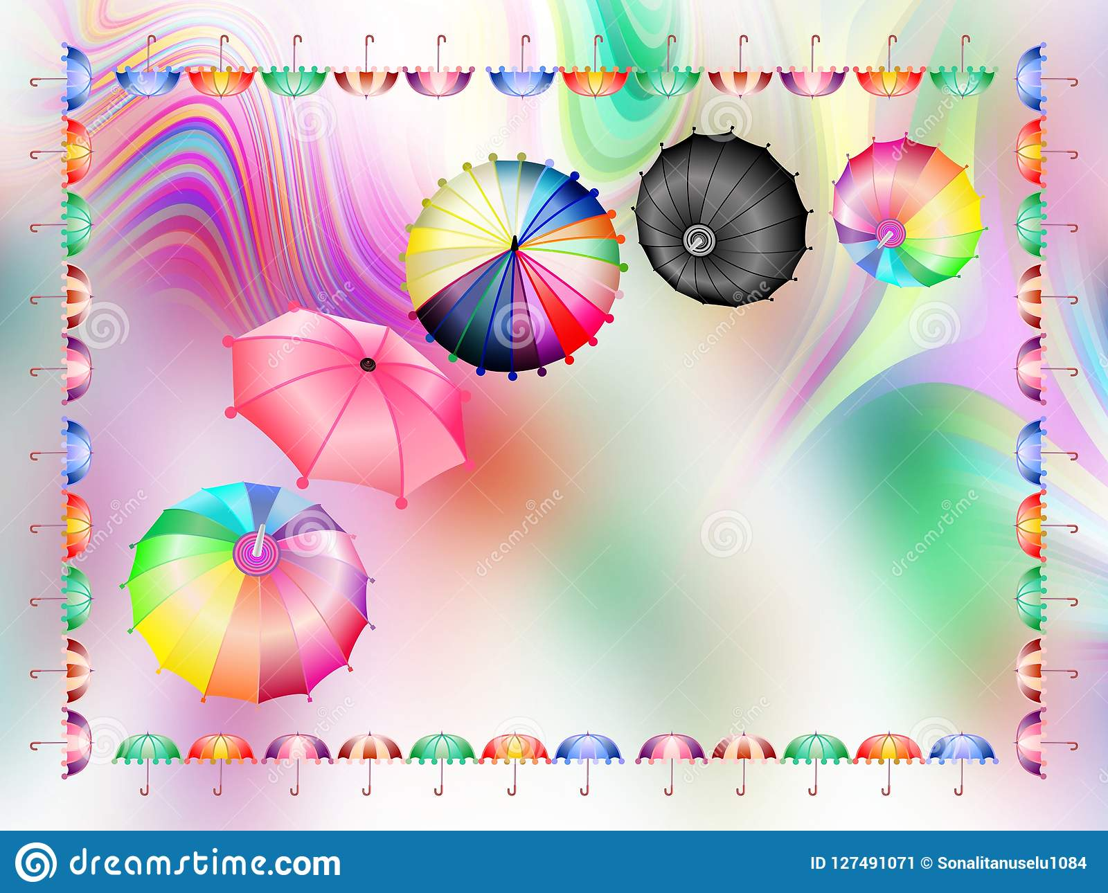 Colorful umbrellas combo, abstract background wallpaper, vector illustration.