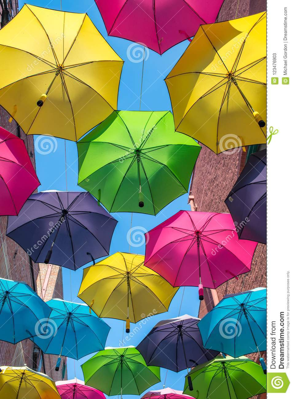 Colorful Umbrellas Outdoors Stock Image - Image of weather, cute ...