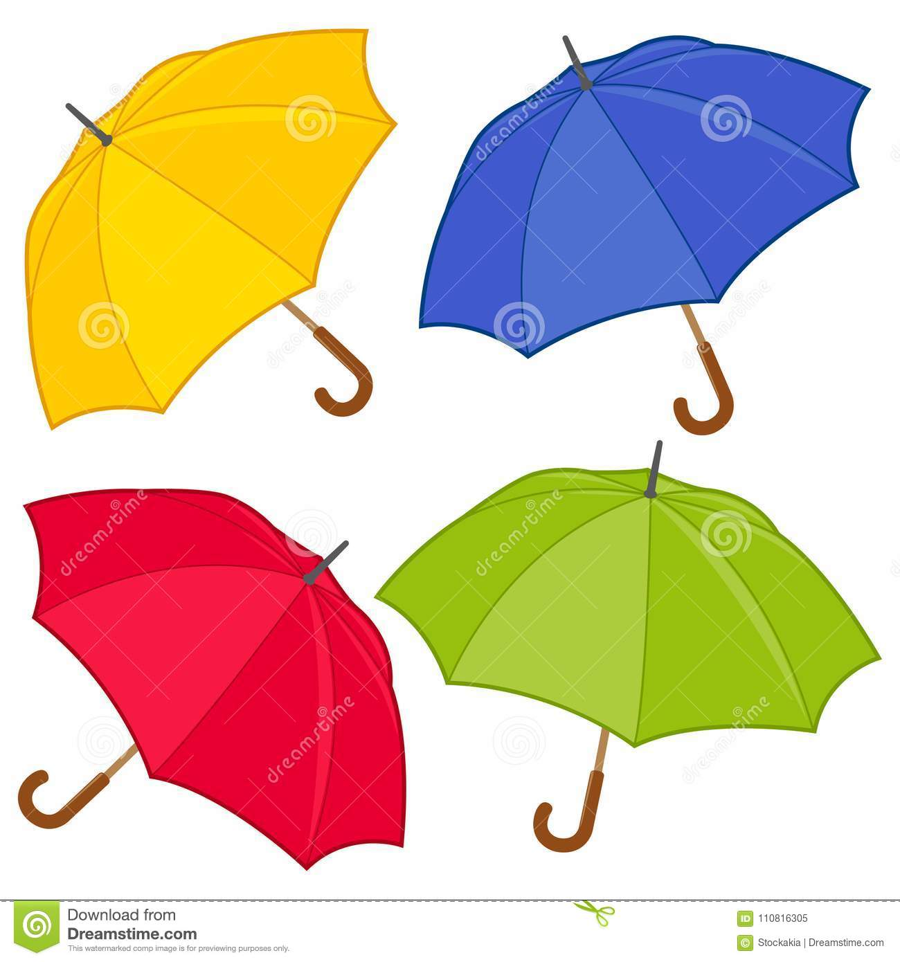 Colorful Umbrellas Vector Collection Stock Vector - Illustration of ...