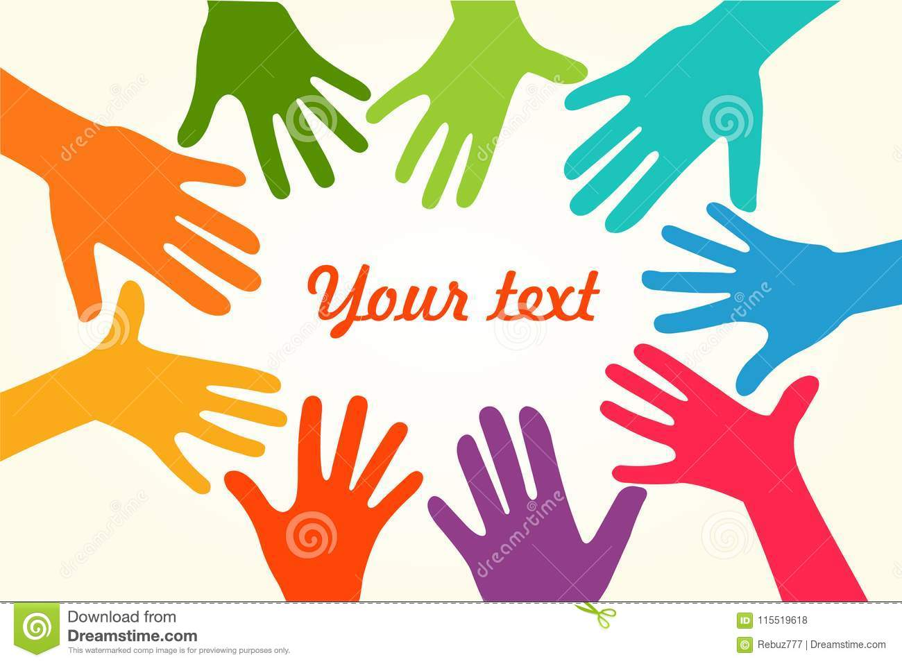 Colorful Up Hands  Vector Illustration, An Associers Celation, Unity