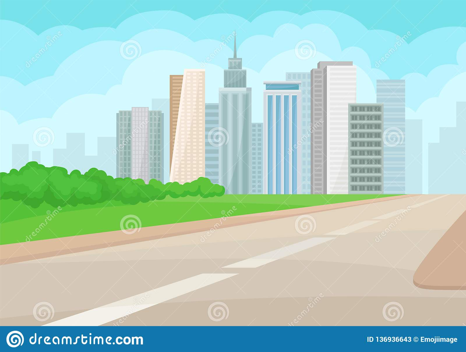 urban landscape with road, high-rise buildings, green