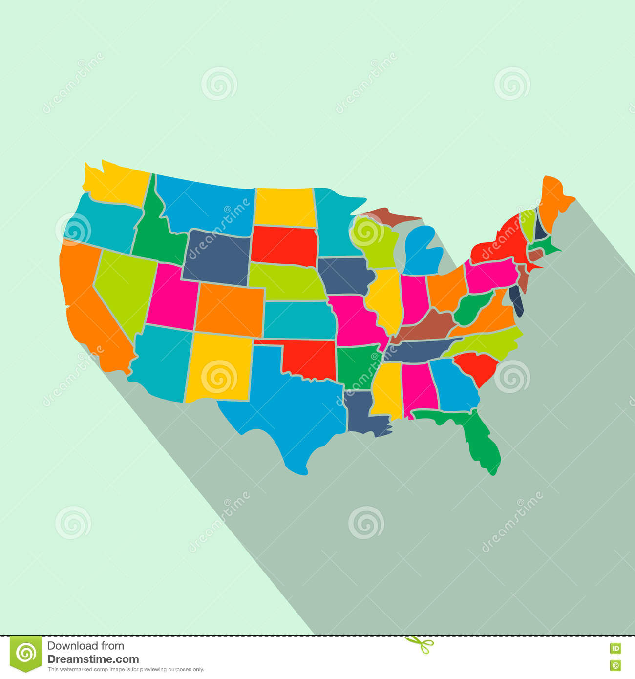 Colorful USA Map With States Flat Icon Stock Vector Image - Us map flat