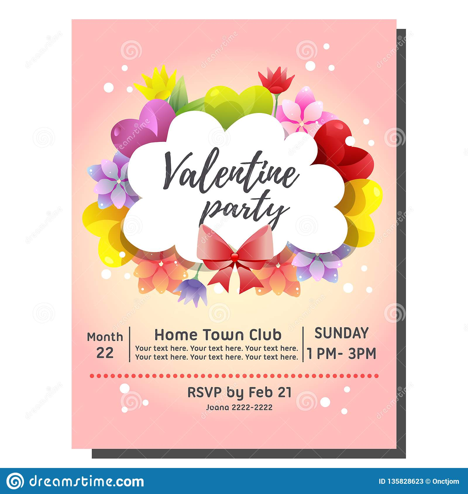 Colorful Valentine Party Invitation Card With Colorful