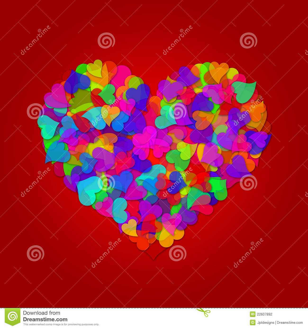 colorful valentines day hearts on red background stock