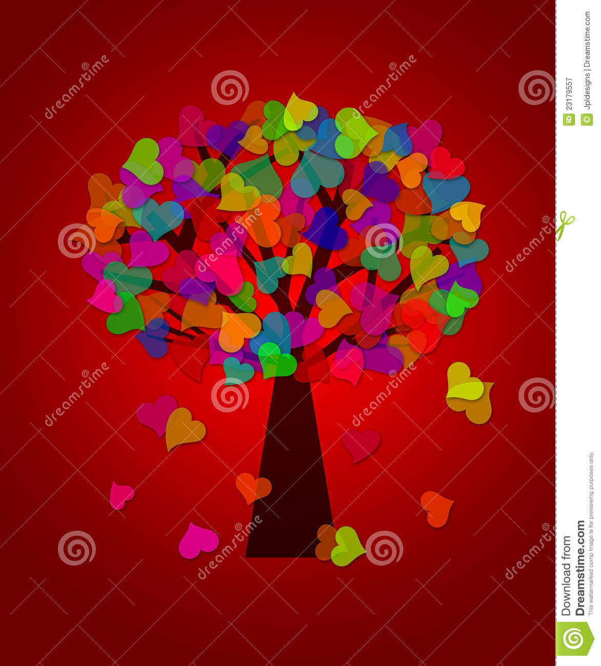 Colorful valentines day hearts tree red background royalty