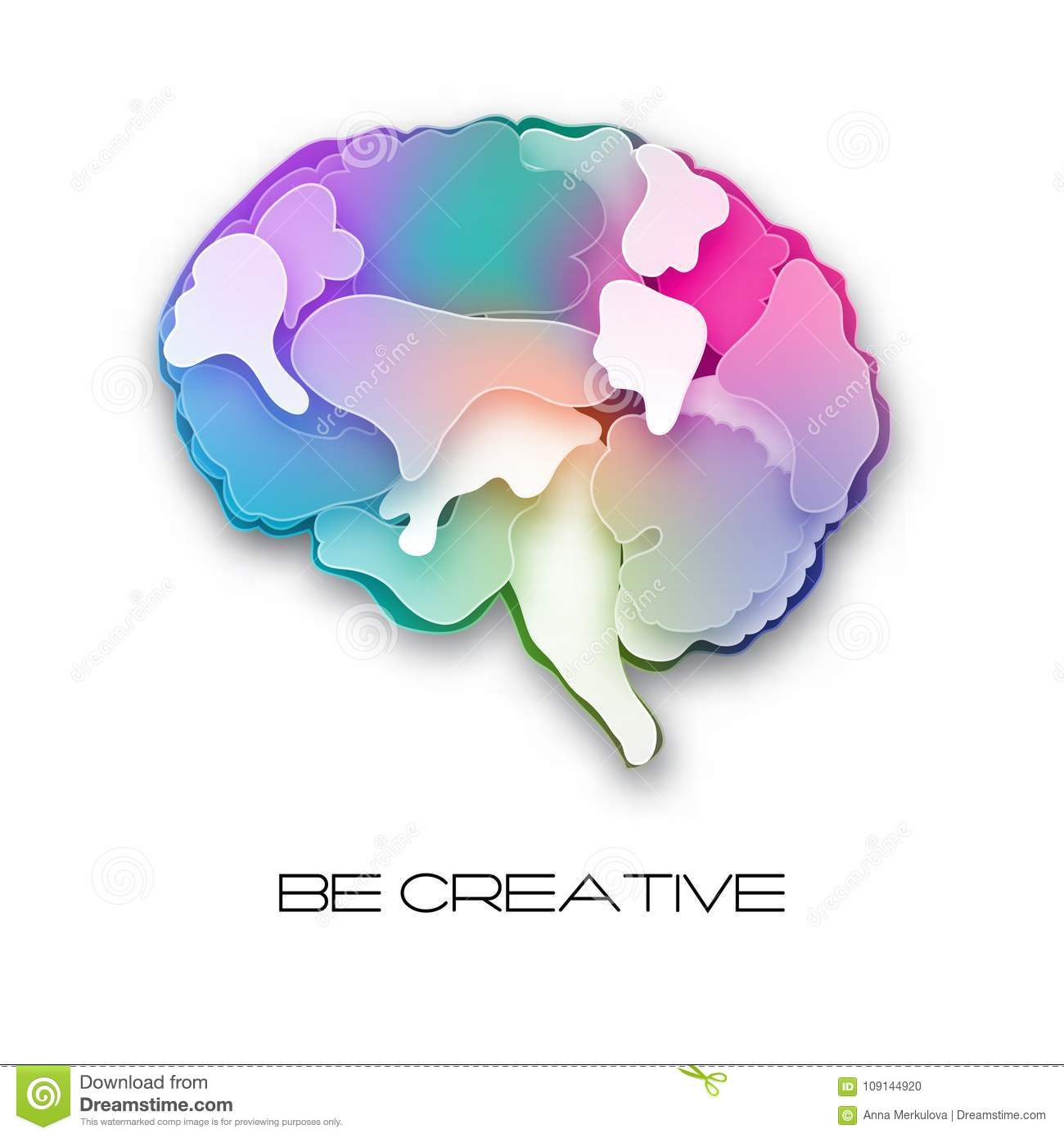 Colorful vector brain illustration, layered cut out