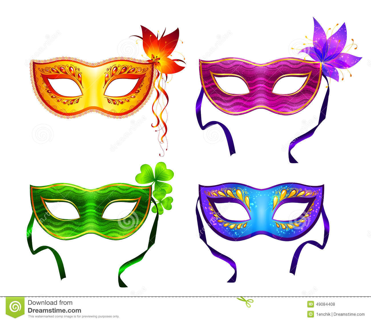 Colorful Vector Carnival Masks Set Stock Vector Image