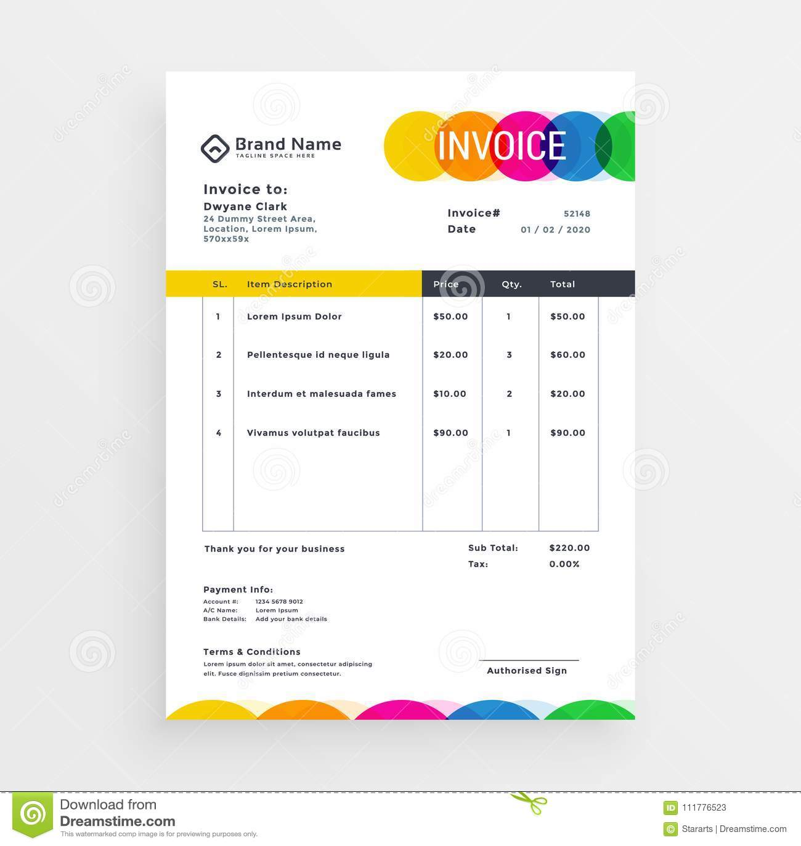 colorful vector invoice template design