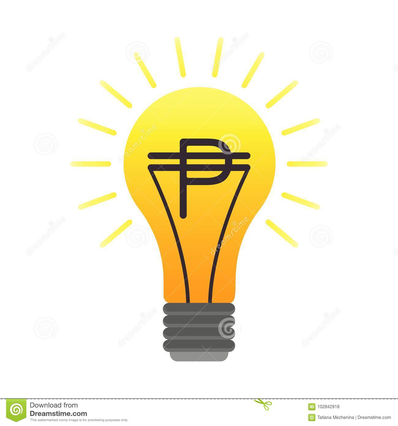 Colorful Vector Lightbulb With Peso Business Idea Stock Vector