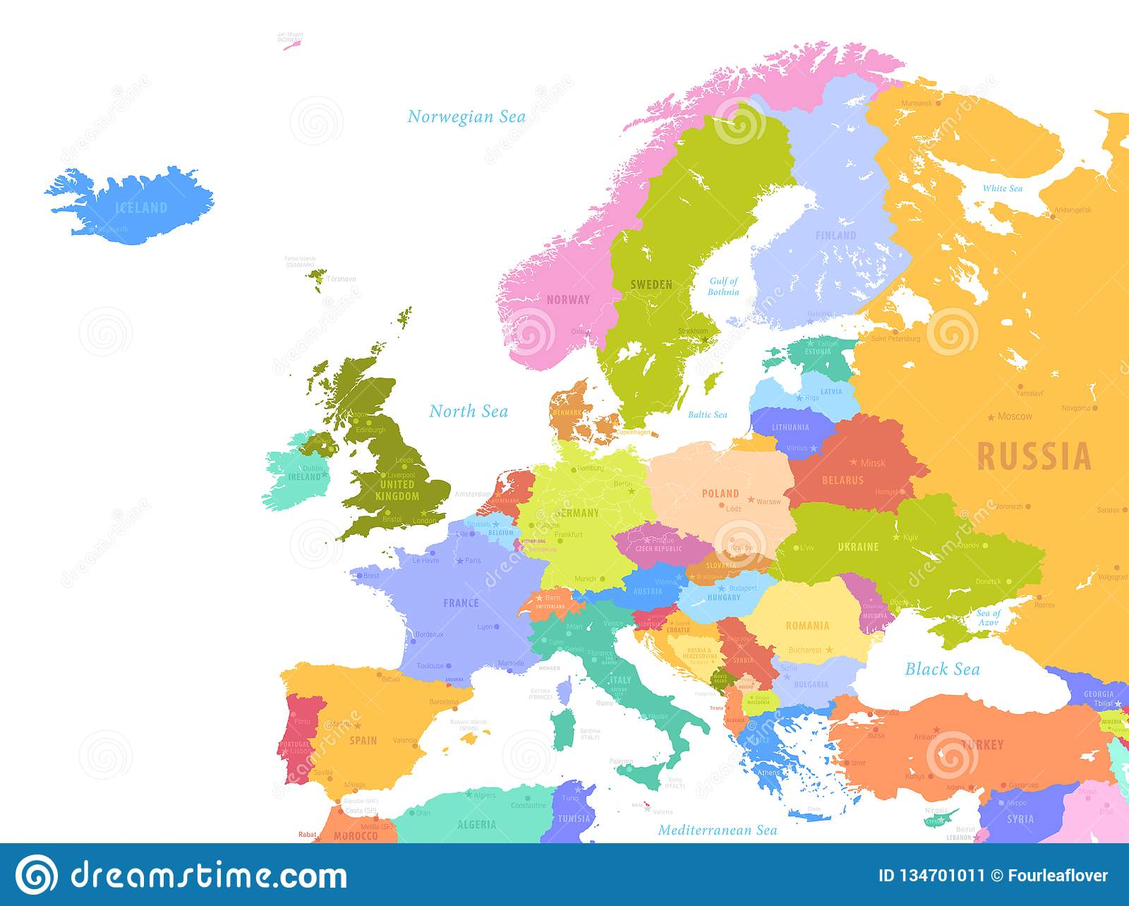 Picture of: Colorful Vector Map Of Europe Stock Vector Illustration Of Holland Graphic 134701011