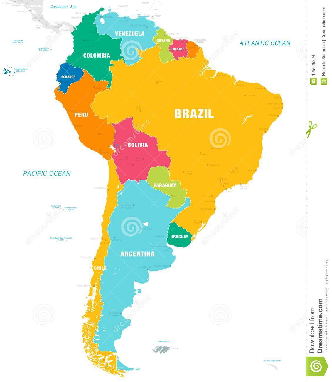 Colorful Vector Map Of South America Stock Vector ...
