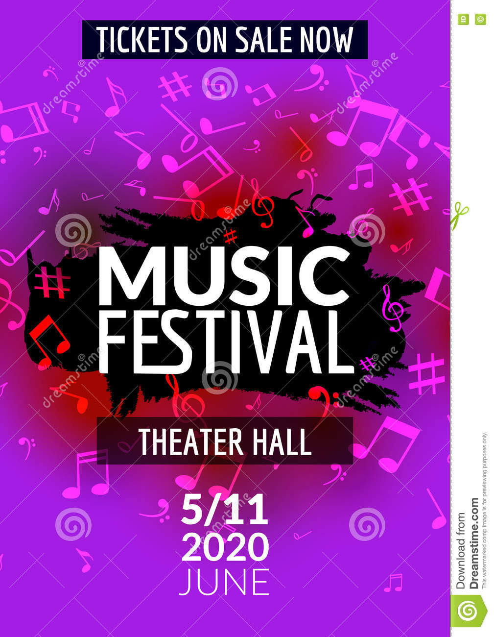 colorful vector music festival concert template flyer